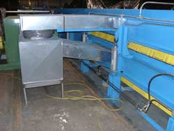 This picture shows how the ductwork is attached to the Armorbelt Foamboarder. Click to enlarge.