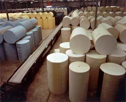 Flexible foam round polyurethane foam buns used to make carpet padding and other items.