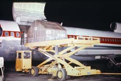 This Karry-All high-lift cargo truck is used to load and transport air cargo.