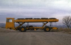 A low-lift cargo truck fully extended.