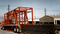 Many different types of cargo are hauled using Strad-O-Lift® such as these steel pipes.